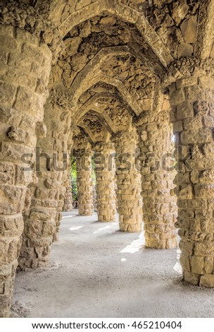 BARCELONA, SPAIN - JULY 3, 2016: Colonnade of park Guell in Barcelona, Spain