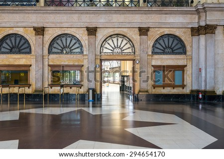"BARCELONA, SPAIN - JULY 01. Concourse in the ""Estacio de Franca"" the France Station in Barcelona on July 01, 2015. The station was rebuild 1929 in kind of classical and more modern styles - stock photo"