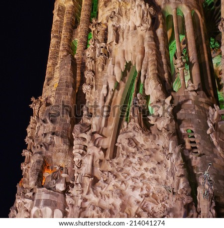 BARCELONA, SPAIN - JULY 12, 2014: Detail of Sagrada Familia church (Temple Expiatori de la Sagrada Famalia) in Barcelona, Spain. Designed by Antoni Gaudi, UNESCO World Heritage Site. - stock photo