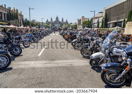 BARCELONA, SPAIN - JULY 05, 2014: Harley Davidsons customized for exhibition during BARCELONA HARLEY DAYS 2014 - stock photo