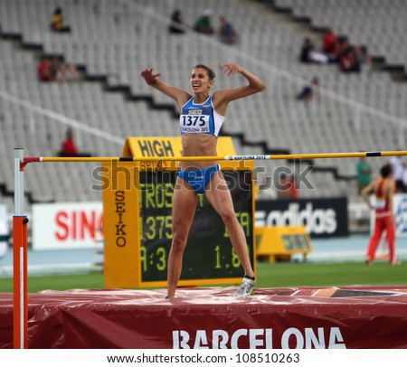 BARCELONA, SPAIN - JULY 15: High jumper Alessia Trost from Italy win high jump on  the 2012 IAAF World Junior Athletics Championshipson on July 15, 2012 in Barcelona, Spain.