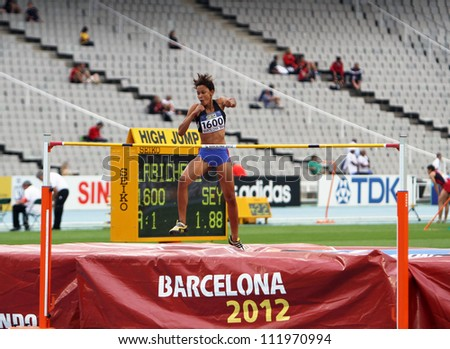 BARCELONA, SPAIN - JULY 15: High jumper Lissa Labiche from Seychelles silver medalist in the high jump on the 2012 IAAF World Junior Athletics Championships on July 15, 2012 in Barcelona, Spain.