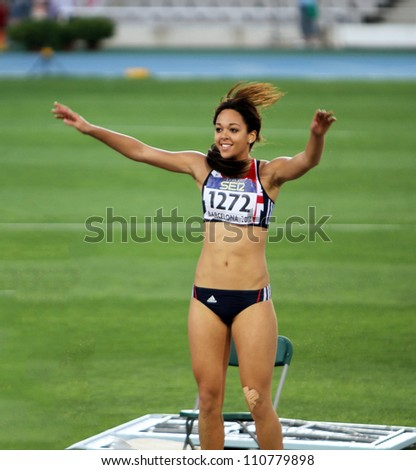 BARCELONA, SPAIN - JULY 13: Katarina Johnson-Thompson from Great Britain, winner of the long jump event with 6.81 meters on the IAAF World Junior Championships on July 13, 2012 in Barcelona, Spain.
