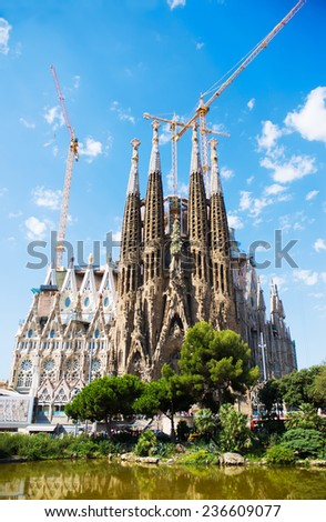BARCELONA, SPAIN - july 24.2014: La Sagrada Familia - the impressive cathedral designed by Gaudi, which is being build since 19 March 1882 and is not finished yet.  july 24, 2014 in Barcelona, Spain.