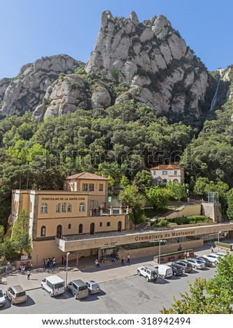BARCELONA, SPAIN - JULY 10, 2015: Lower funicular station De La Santa Cova. Funicular allows climb the mountain of Montserrat.