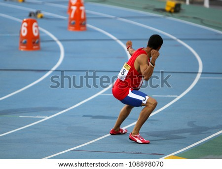 BARCELONA, SPAIN - JULY 12: Luguel�­n Santos from Dominican Republic celebrates the winning of the 400 meters final on the 2012 World Junior Athletics Championships on July 12, 2012 in Barcelona, Spain