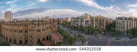 BARCELONA, SPAIN, JULY12: Panorama of the Monumental Bullring and  Barcelona in the background. Catalonia, Spain 2016.