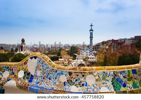Barcelona, Spain - July 24: Park Guell by architect Antonio Gaudi in Barcelona, Spain.