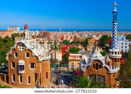 BARCELONA, SPAIN - JULY 2012: Park Guell is a garden complex with architectural elements in the Gracia district. It was commissioned by Eusebi Guell and designed by Antonio Gaudi, built in 1900-1914.