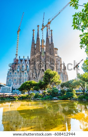 BARCELONA, SPAIN - JULY 26, 2016: Sagrada Familia in Barcelona, Spain. Sagrada Familia is a large Roman Catholic church in Barcelona, designed by architect Antoni Gaudi.