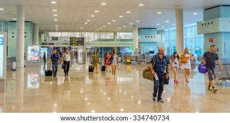 BARCELONA, SPAIN - JULY 16, 2015: The public area at the Terminal T1 of El Prat-Barcelona airport.