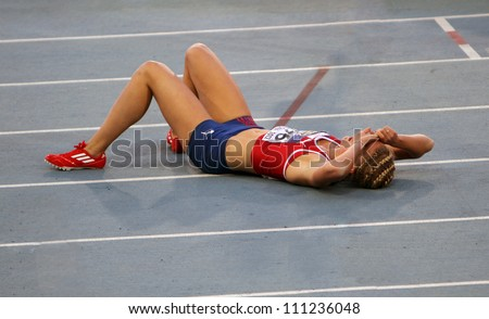 BARCELONA, SPAIN - JULY 14: Vilde J. Svortevik from norway after 400 meters hurdles final on the 2012 IAAF World Junior Athletics Championships on July 14, 2012 in Barcelona, Spain. - stock photo
