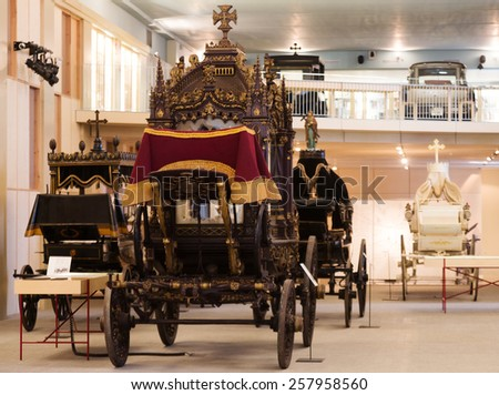 BARCELONA, SPAIN - JULY 20, 2014: Vintage hearses in interior of Museu de Carrosses Funebres - stock photo