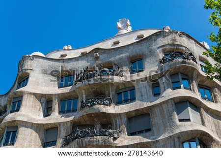 BARCELONA, SPAIN - JUNE 5 2013: Architecture detail of Casa Mila, known as La Pedrera, designed by the famous architect Antoni Gaudi, in Barcelona, Spain, on June 5 2013. - stock photo