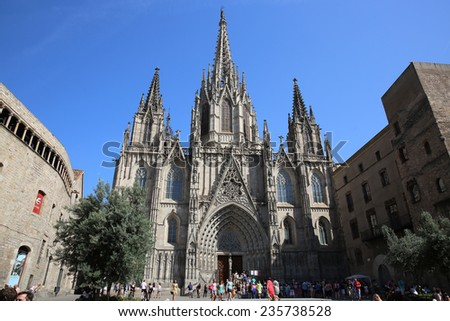 BARCELONA, SPAIN - JUNE 20, 2014: Barcelona's gothic Cathedral, known as La Seu, located in the heart of the Gothic Quarter. - stock photo