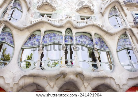 BARCELONA, SPAIN - JUNE 29, 2013: Casa Batllo Facade. The famous building designed by Antoni Gaudi is one of the major touristic attractions in Barcelona. June 29, 2013 in Barcelona, Spain - stock photo
