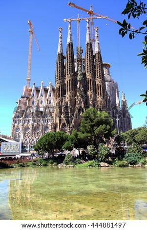 BARCELONA, SPAIN - June 22, 2016: La Sagrada Familia - the impressive cathedral designed by Gaudi, which is being build since 19 March 1882 and is not finished yet June 22, 2016 in Barcelona, Spain.
