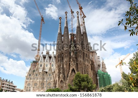 BARCELONA SPAIN - JUNE 9: La Sagrada Familia - the impressive cathedral designed by Gaudi, which is being build since 19 March 1882 and is not finished yet June 9, 2013 in Barcelona, Spain