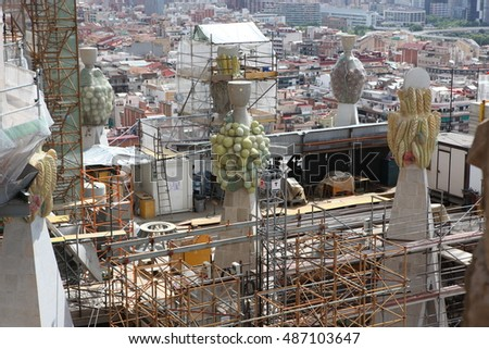 BARCELONA SPAIN - JUNE 9: La Sagrada Familia - the impressive cathedral designed by Gaudi, which is being build since 19 March 1882 and is not finished yet June 9, 2012 in Barcelona, Spain