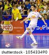 BARCELONA, SPAIN - JUNE 17: Leandro Esquerdinha of El Pozo in action at Spanish Futsal League match between FC Barcelona and El Pozo Murcia, final score 4 - 1, on June 17, 2012, in Barcelona, Spain. - stock photo