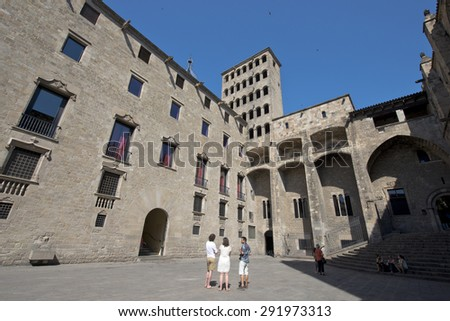 BARCELONA, SPAIN - JUNE 26: Medieval Palau Reial (Royal Palace) at Plaza del Rey (King's Square), in the heart of Barri Gotic (gothic quarter) Barcelona on June 26, 2015, Catalonia, Spain