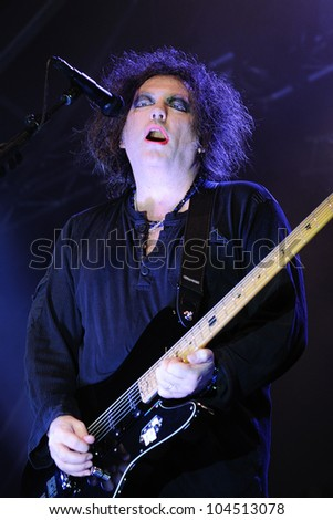 BARCELONA, SPAIN - JUNE 1: Robert Smith, singer and guitarist of the legendary rock band The Cure performs at San Miguel Primavera Sound Festival on June 1, 2012 in Barcelona, Spain.