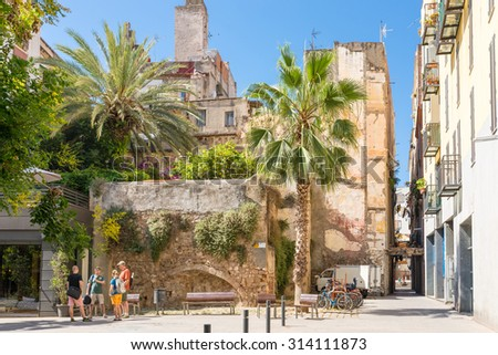 BARCELONA, SPAIN - JUNE 25. Roof-garden in the Barcelona district La Ribera on June 25, 2015. The citizens in this historical narrow district like to have greenery around the residential quarter