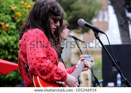 BARCELONA, SPAIN - JUNE 3: Roxanne Clifford, singer of Veronica Falls band, performs at Parc de la Ciutadella for free on June 3, 2012 in Barcelona, Spain. San Miguel Primavera Sound Festival. - stock photo