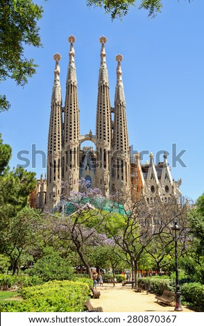 BARCELONA, SPAIN - JUNE 05, 2014: Sagrada Familia - Basilica and Expiatory Church of the Holy Family designed by Gaudi, which is being build since 19 March 1882 and is not finished yet.