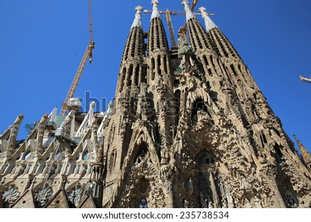 BARCELONA, SPAIN - JUNE 20, 2014: Sagrada Familia Church in Barcelona, designed by Antonio Gaudi - stock photo