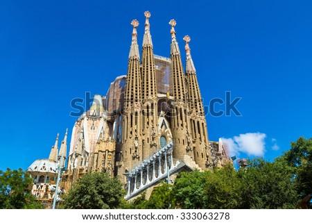 BARCELONA, SPAIN - JUNE 11 : Sagrada Familia in Barcelona in Spain in a summer day on June 11, 2015 in Barcelona, Spain - stock photo