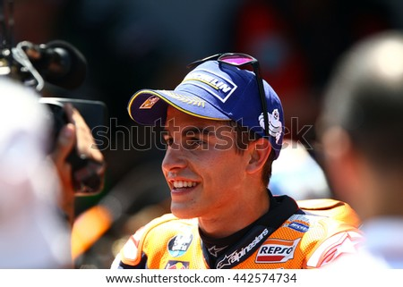 BARCELONA - SPAIN JUNE 5: Spanish Honda rider Marc Marquez at 2016 Monster Energy MotoGP of Catalunya at Barcelona circuit on June 5, 2016
