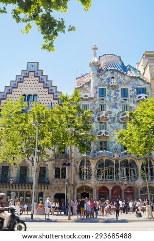Barcelona, Spain - June 06, 2015: The facade of the house Casa Battlo. The house was designed by Antoni Gaudi with his famous style. His work is UNESCO World Heritage Site. - stock photo