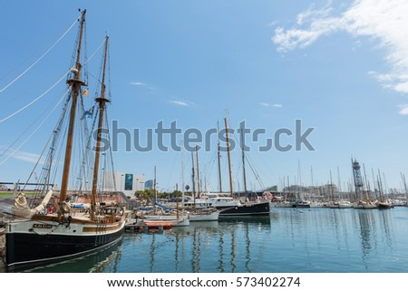 BARCELONA, SPAIN - JUNE 2014: The marina in Barcelona.