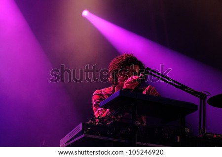 BARCELONA, SPAIN - JUNE 3: Yann Tiersen performs at Arc de Triomf for free on June 3, 2012 in Barcelona, Spain. San Miguel Primavera Sound Festival. - stock photo
