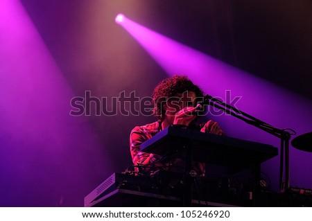 BARCELONA, SPAIN - JUNE 3: Yann Tiersen performs at Arc de Triomf for free on June 3, 2012 in Barcelona, Spain. San Miguel Primavera Sound Festival. - stock photo