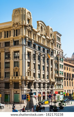 BARCELONA, SPAIN - MAR 15, 2014: Architecture of the Via Laietana in Barcelona, Spain. Via Laietana was projected in 1879 and it's a a major thoroughfare