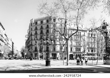 BARCELONA, SPAIN - MAR 15, 2014: Architecture on the Passeig de Gracia in Barcelona, Spain.  It's one of the most important shopping and business areas in the city