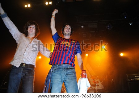 BARCELONA, SPAIN - MAR 01: Kurtis Smith drummer of the british rock/blues band The Brew, perfoms with a F.C. Barcelona team shirt at Bikini on March 1, 2012 in Barcelona, Spain.