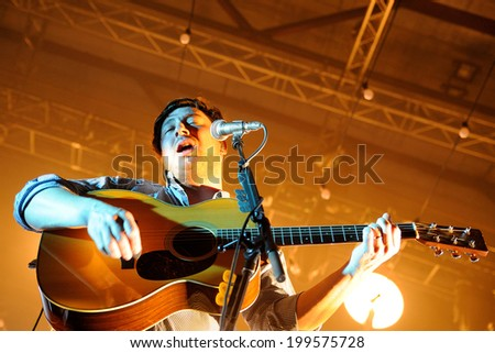 BARCELONA, SPAIN - MAR 20: Marcus Mumford, frontman of Mumford and Sons band, performs at Sant Jordi Club on March 20, 2013 in Barcelona, Spain. - stock photo