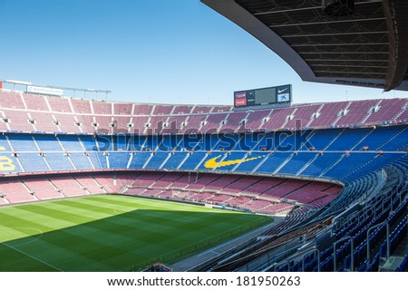 BARCELONA, SPAIN - MAR 15, 2014: Nike sign on the tribune of Nou Camp. Camp Nou is the home arena for FC Barcelona and seats 99786 people.