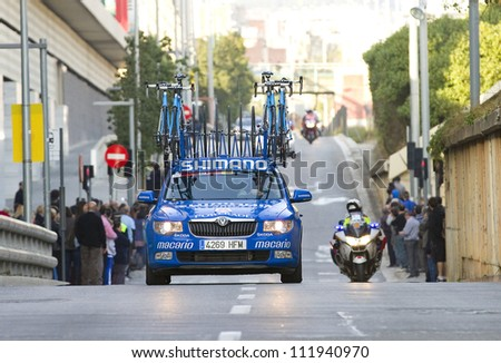 BARCELONA, SPAIN - MARCH 24: Car with some bicycles at Volta a Catalunya cycling race, on March 24, 2012, in Barcelona, Spain.