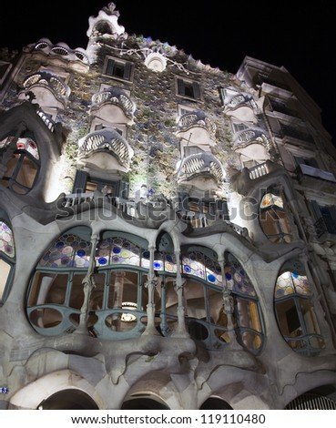 BARCELONA, SPAIN -Â?Â? MARCH 14: Casa Batllo aka the Casa dels Ossos (House of Bones) on March 14, 2010 in Barcelona, Spain. Designed by Antoni Gaudi it is a UNESCO World Heritage site. - stock photo