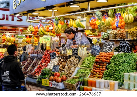 BARCELONA, SPAIN - March 7, 2012: Fruit and vegetables for sale at La Boqueria market, on March 07, 2012 in Barcelona Spain.