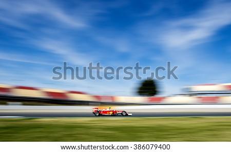 BARCELONA, SPAIN - MARCH 1, 2016: Kimi Raikkonen of Ferrari at Formula One Test Days at Catalunya Circuit on March 1, 2016 in Barcelona, Spain. - stock photo