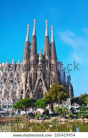 BARCELONA, SPAIN - MARCH 23: La Sagrada Familia - the construction of this church was designed by spanish architect Gaudi in 1883, but it is not finished yet. March 23, 2012 in Barcelona, Spain. - stock photo