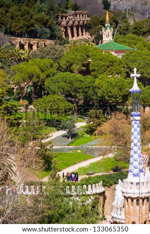 BARCELONA, SPAIN - MARCH 12: Park Guell in March 12, 2013 in Barcelona, Spain. Park was designed by Gaudi and built in 1900 to 1914, as luxury residential district. Now it is municipal garden