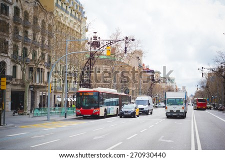 BARCELONA, SPAIN - MARCH 21: streets of Barcelona on March 21, 2015. Barcelona is the capital city of Catalonia in Spain and the country's second largest city, with a population of 1.6 million