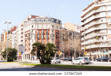 BARCELONA, SPAIN - MARCH 3: View of Barcelona, Avinguda Diagonal in March 3, 2013 in Barcelona, Spain. Its width is 50 meters and a length of about 11 kilometers - stock photo