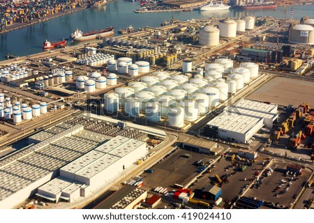 BARCELONA SPAIN MAY 5 2009: Ariel view of seaport storage facilities it has over  2000-year of history and great contemporary commercial importance as one of the biggest in Europe. - stock photo